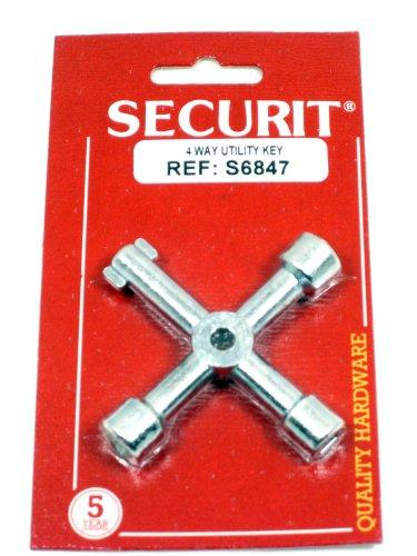 Securit verzinkter 4 way Schaltschrankschlüssel - öffnet sich Wasser, Strom & gas Schränke