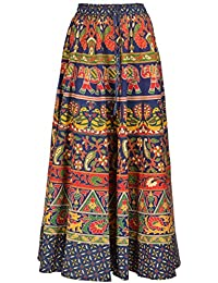 Perfect Choice Jaipuri Rajasthani Cotton Multi Colour Straight Long Skirt For Women