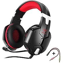 KOTION EACH G1200 Gaming Headset Auriculares 3.5mm para Jueguos de Diadema con Micrófono para Videojuegos Stereo Bass para PS4 PC Laptop Celulares(Rojo+Negro)