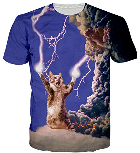 Goodstoworld Katze blitze Shirt 3D Print T Shirt Herren Damen Sommer Lustige Beiläufige Kurzarm Aufdruck T-Shirts Tee Top XL -