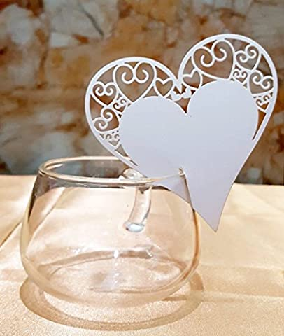 50PCS Love Heart Table Name Place Cards DIKETE® Cut Carved Mark Blank Card Postcard for Wedding Christmas Champagne Glass Guest Engagement Birthday Banquet Party Decoration Favor (White 2)