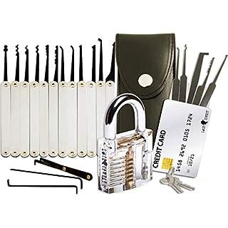 Kit de crochetage 20 pièces - cadenas transparent/carte de crédit contenant crochets/guide pour débutants et professionnels de LockCowboy