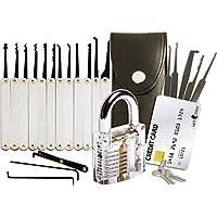 Set grimaldelli da 20 pezzi + set tascabile, lucchetto trasparente da pratica, guide per fabbri principianti ed esperti della Lock Cowboy