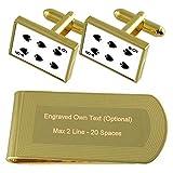 Spaten Playing Card Nummer 6 Gold-Manschettenknöpfe Geldscheinklammer Gravur Geschenkset