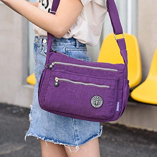 Outreo Schultertasche Damen Umhängetasche Leichter Kuriertasche Lässige Sporttasche Wasserdicht Messenger Bag Taschen Mode Reisetasche für Mädchen Rot 1