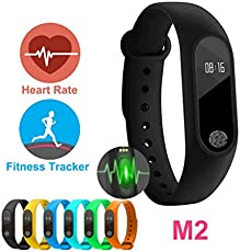 AheadStrong Silicon Rubbber M2 Fitness Band Heart Monitor, Calorie Counter, Pedometer, Waterproof Compatible with iOS and Android
