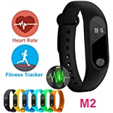 Original M2 Fitness Band by AheadStrong|| Heart Monitor, Calorie Counter, Pedometer,Sleep Monitor, Data Sharing on Facebook, Waterproof Fitness Tracker Compatible with iOS and Android