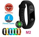 #2: AheadStrong Silicon Rubbber M2 Fitness Band Heart Monitor, Calorie Counter, Pedometer, Waterproof Compatible with iOS and Android