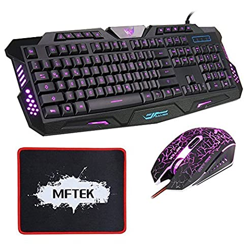 MFTEK USB Wired Gaming Tastatur und Maus Set (QWERTZ, Deutsches Tastaturlayout) (10 Multimedia-Keys, 3 Adjustierbare Hintergrundfarben)