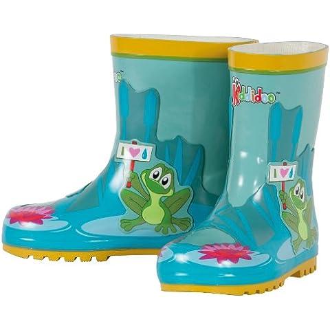 Kiddidoo 47012_26 - Stivali da pioggia per bambino, motivo: Rana, misura: 26/27