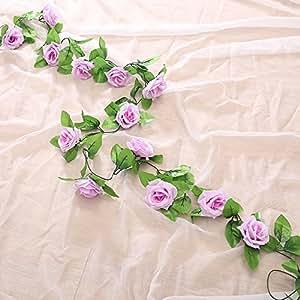 Vintage Kunstlicher Hangende Rebe Silk Rosen Blumen Blatter