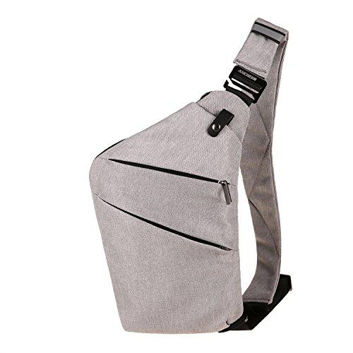Leichte Sling Schulter Rucksäcke Chest Pack Umhängetasche Dreieck Rucksack zum Wandern Radfahren Reisen oder Multipurpose Tagepacks Grau