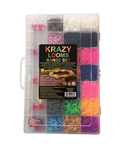 KRAZY LOOMS Kit COMPLETO Máquina de tejer para FABRICAR tus propias pulseras, anillos y collares - 3800 gomillas sin látex , 50 clips de cierre en forma de S, 1 plantilla, 1 gancho, 6 colgantes y 10 accesorios.