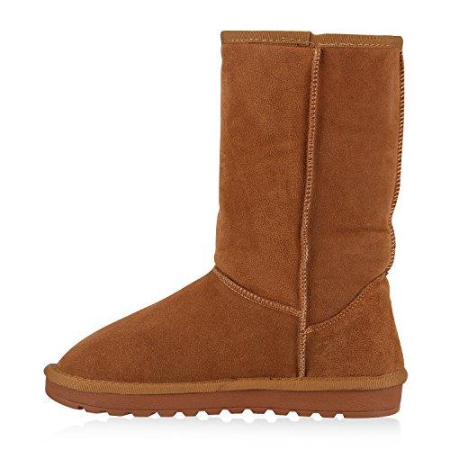 Warm Gefütterte Damen Stiefel Schlupfstiefel Leder Boots Hellbraun