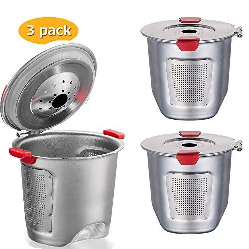 Tassen für Keurig 2.0 & 1.0 Kaffeemaschinen Universal Edelstahl Wiederverwendbare Keurig Filter keurig Wiederverwendbar k Cup 100% BPA-frei 2.3in-3PCS(New model) ()
