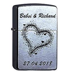 Generic Zippo mit Wunschgravur, Herzen, Original Chrome Brushed personalisiert, Liebe, Paar
