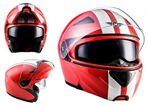 MOTO HELMETS F19 RACING Sturz-Helm Scooter-Helm Cruiser Helmet Modular-Helm Flip-Up-Helm Roller-Helm Klapp-Helm Integral-Helm Motorrad-Helm - ECE zertifiziert - inkl. Sonnenvisier - inkl. Stofftragetasche - Ralley (L (59-60cm), Racing Red)