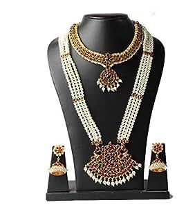 Bharatanatyam Jewellery Pearl Kemp Haram Pendant And Short Necklace Set With Earrings