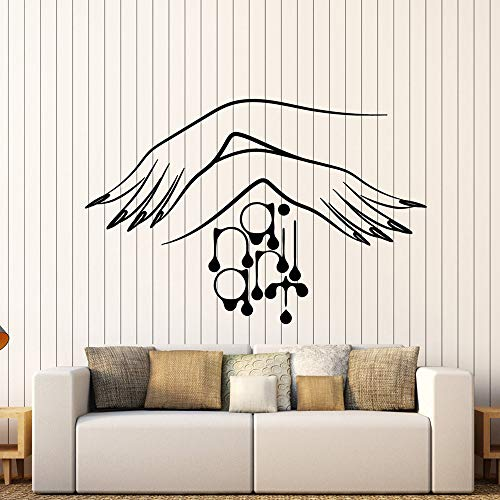 guijiumai Vinyl Wall Decal Nagelstudio Maniküre Logo Frauen Hände Aufkleber Beauty Salon Wandtattoos Für Nägel Schaufenster Dekor grau 42x64cm