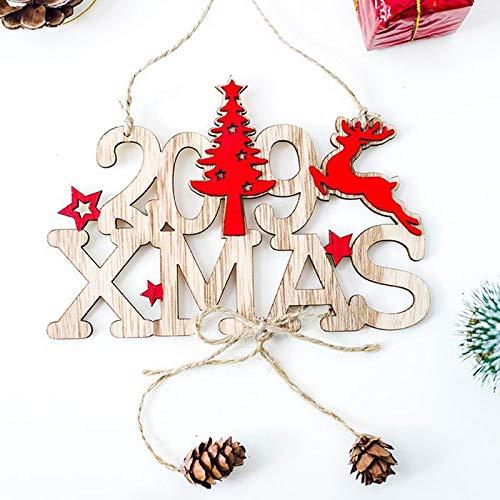 Fjiujin,Dekorativer Holzanhänger für Weihnachten und Neujahrstor 2019(Color:BRAUNER Zucker)