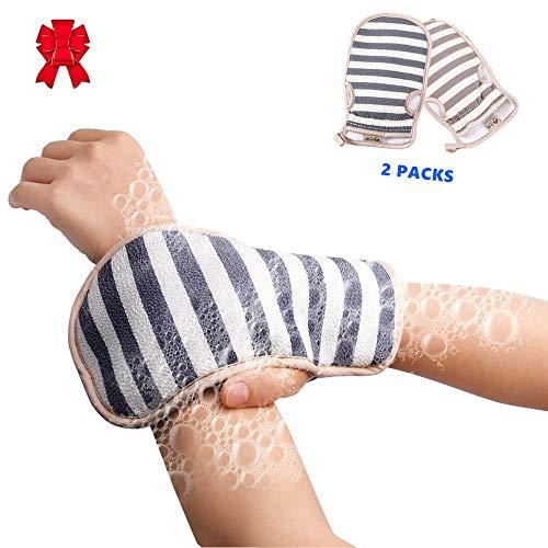 2 Stück-peeling (2 Stücke Doppelseitige Peeling Wäscher Mitts Tiefe Peeling Handschuhe für Körper Gesicht Rücken Bad Dusche Entfernen Abgestorbene Haut Mitten Trockene Haut Behandlung SPA Massage Peeling Mitt)