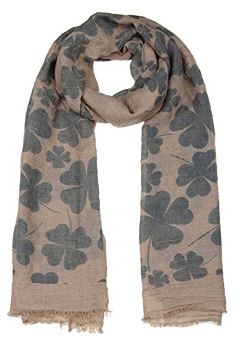 Leslii Schal Glücks-Klee Oliv Grün | Damen-Schal Mode-Accessoire | 192cm x (Zeichen Großes Peace Halskette)