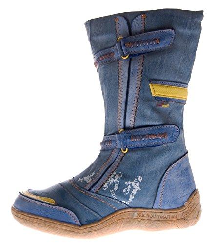 Damen Leder Winter Stiefel Comfort Boots TMA 14411 Schuhe gefüttert Jeans Blau