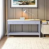 Keinode Konsolentisch Moderner weißer Beistelltisch Couchtisch mit 2 Schubladen und unterer Ablage Schminktisch Schreibtisch Holzmöbel für Wohnzimmer Schlafzimmer Küche Flur Lounge Büro, Holz, Type B