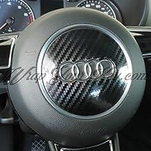 Negro Fibra De Carbono Brillo AUDI AIRBAG Cubierta REVESTIDO S RS A1 A3 A4 A6 A8 TT Q3 Q5 Q7