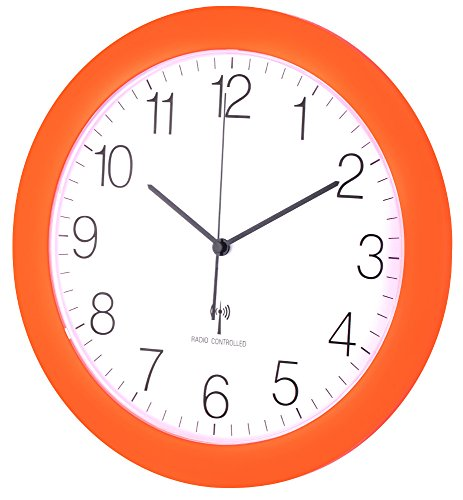 Funk-Wanduhr TFA 60.3512 mit Lautlos Sweep-Uhrwerk, 300 mm (Neonorange)