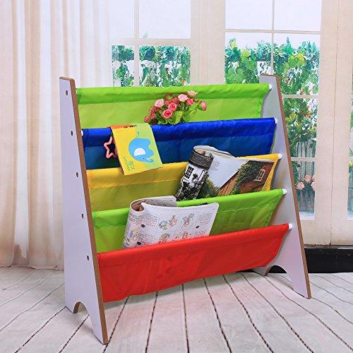 Greensen Bücherregal, 4 fächer Kinder Büchergestell Kinderregal Kinderzimmerregal Spielzeugregal Büchergestell 68 x 60 x 28 cm (Weiß) - Weiß Kinder Bücherregal Für