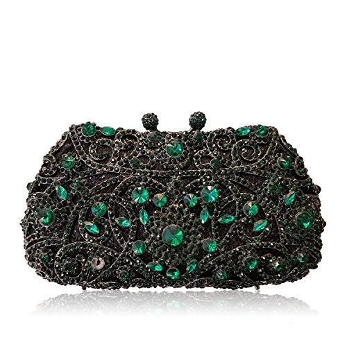 XYXM Dame Kupplung Luxus volle Bohrgerät Handtasche Metall handgemachte Kristall Tasche Kleid Pack Abendtasche green