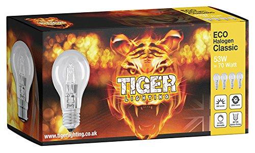 8PACK A60Classic 53W = 70W ECO Halogen (E27) Edison Schraubsockel (ES) Kerze Leuchtmittel bieten einen strahlenden natürliches Licht mit warm weiß 2700K Farbe Temperatur mit 840Lumen Ausgang.