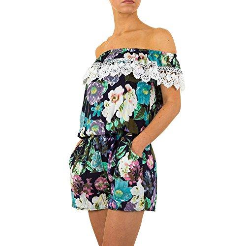 Kurzer Off Shoulder Overall Für Damen bei Ital-Design Blau
