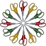 Lot de Paires de Ciseaux (12 Pièces) - Ciseau de Couturier 20 cm en Trois Couleurs pour le Découpage de Papier - Découpe de Tissus - Couture - Scarpbooking - École d'Arts - Fourniture de Bureau