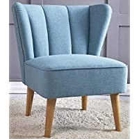 TULIP Armless Chair [Blue] Retro Wingback Living Room Sofa Chair w/Upholstered Wooden Legs | Accent Arm Chair