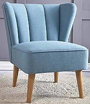 كرسي بدون ذراع [أزرق] كرسي أريكة من أعلى الجناح القديم مع أرجل خشبية منجد | كرسي بذراع لهجة