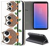 Samsung Galaxy S3 Mini Hülle Premium Smart Einseitig Flipcover Hülle Samsung S3 Mini Flip Case Handyhülle Samsung S3 Mini Motiv (293 Eulen auf AST Braun Schwarz Grün)