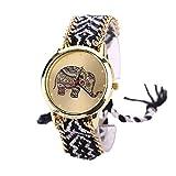 Sannysis Elephant Pattern Gewebte Seil Band-Armband-Quarz Zifferblatt schwarz weiß