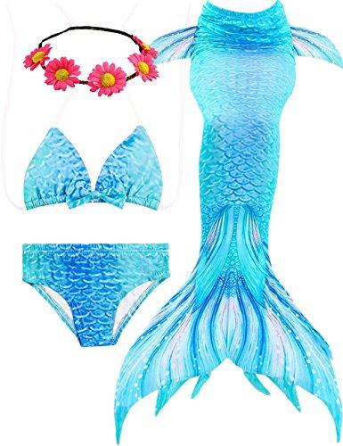 4PCS Mädchen Mermaid Tails Badeanzüge zum Schwimmen Kleinkind Big Girl Bikini Set, 3-12 (A Blue, 10-12years 150)