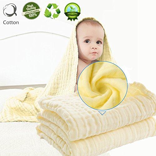 Musselin Babybadetuch, Morbuy Niedlich 110 cm x 110 cm Weich und Gemütlich Neugeboren 100% Baumwolle 6 Schichten Muslin Absorbent Baby Badetuch Babydecke (Gelb) (Gelb-decken)