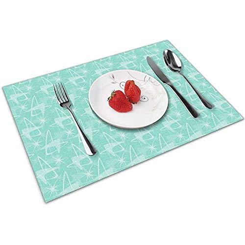 Bumerangs Starbursts in Aqua 6 Stück Set Tischsets Tischset Patio Xmas Holidays Kitchen Decorations