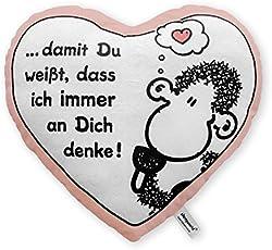 """Sheepworld 42693 Plüsch-Kissen in Herz-Form """"… damit Du weißt, dass ich immer an dich denke!"""", 30 cm x 27 cm, Geschenk-Artkikel"""
