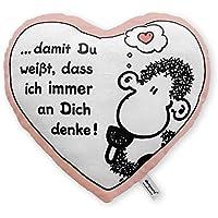 """Sheepworld 42693 Plüschkissen in Herzform """"… damit Du weißt, dass ich immer an dich denke!"""""""