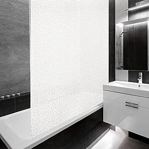 Design Duschrollo Milky Pebbles | viele Größen | schnelltrocknend | Deckenbefestigung mit Halbkassette | halbtransparent, Stein Mosaik | 160x240cm (BxL)