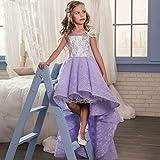 Havanadd Prinzessin Party Kinder Ballkleid Vordere Kurze und Lange volle Knospe-Band-Brosche-Mädchen-Hochzeits-Kleid-Leistung Kleid-Partei-Kleid (Größe : 12-13T)