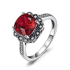 Idea Regalo - Jewelrypalace vintage 3.3ct rubino sintetico quadrato promessa anniversario anello in argento Sterling 925, Argento, 52 (16.6), cod. EU-AR40246206