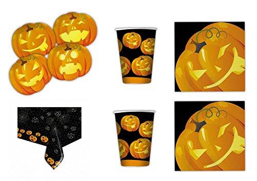 (Halloween Kürbis koordinierten Dekorationen Party–Kit N ° 10cdc- (40Teller, 40Gläser, 32Servietten, 1Tischdecke))