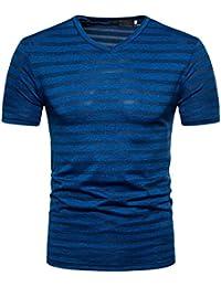 Sommer T-Shirt FORH Herren Casual V-Ausschnitt Pullover T-Shirt Top Elegant  Streifen Kurzarm Bluse Mode Weich… cb872e3da3