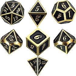 Lega di zinco Dadi Metallo Poliedrici 7-Die Dice Set per Dungeons and Dragons RPG Gioco dei Dadi D&D Insegnamento della Matematica, d20, d12, 2 Pezzi d10 (00-90 e 0-9), d8, d6 e d4 (Oro Lucido e Nero)